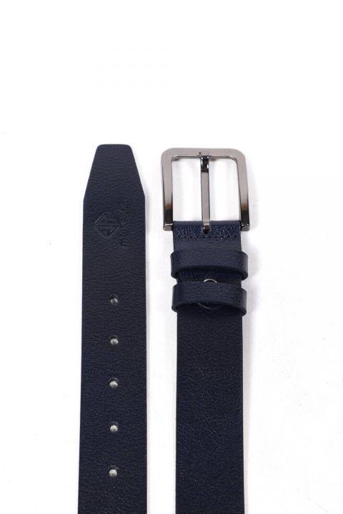 Printed Navy Blue Men's Genuine Leather Belt