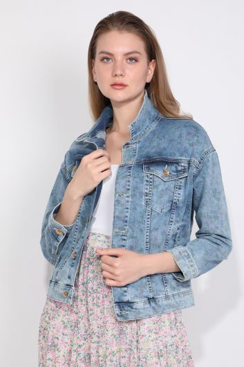 Oversize Women Jean Jacket With Print Pattern - Thumbnail