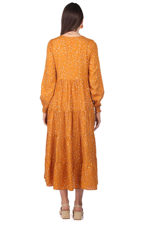 Yaldız Puantiyeli Uzun Elbise