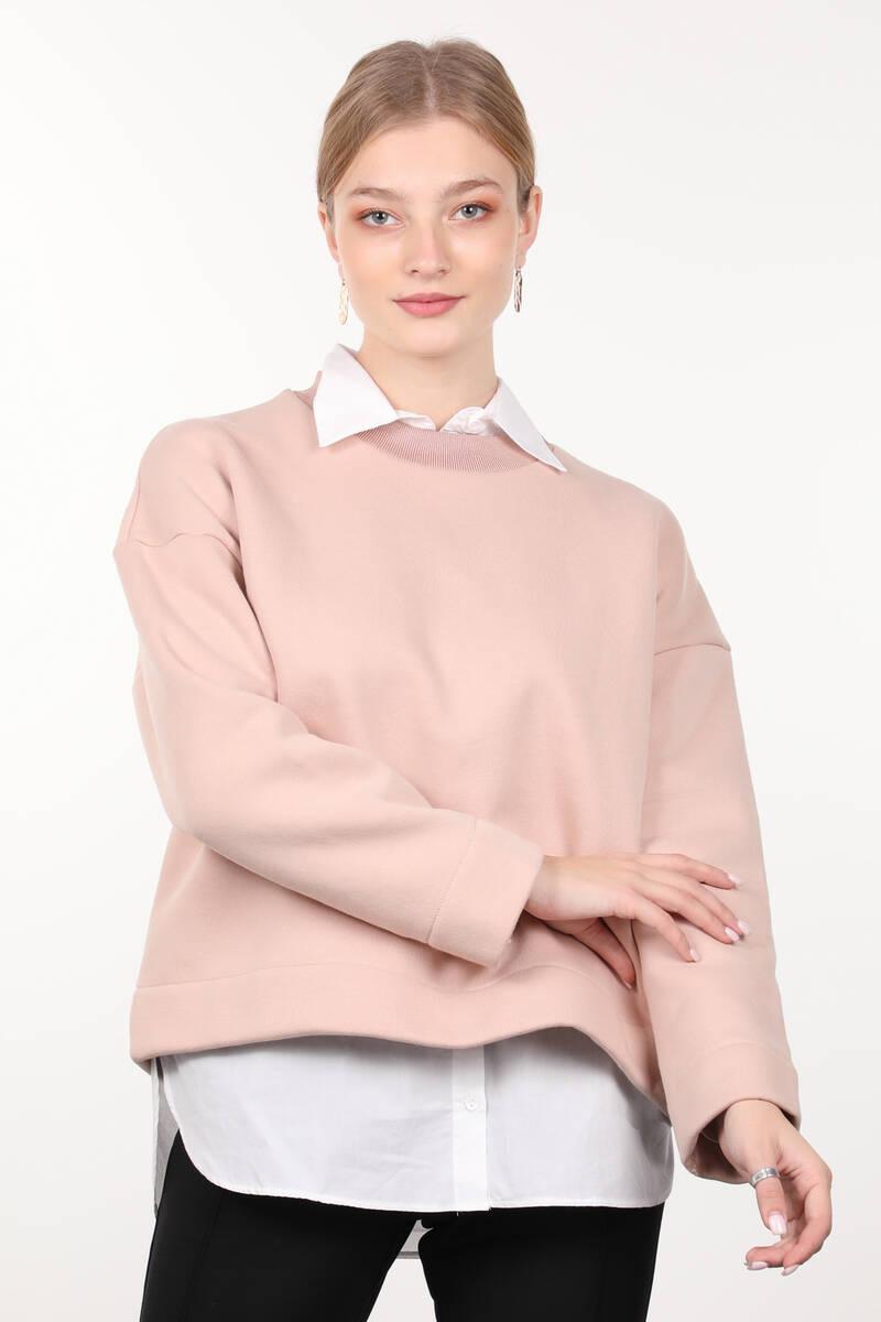 Pudra Örme Şardonlu Bisiklet Yaka Kadın Sweatshirt