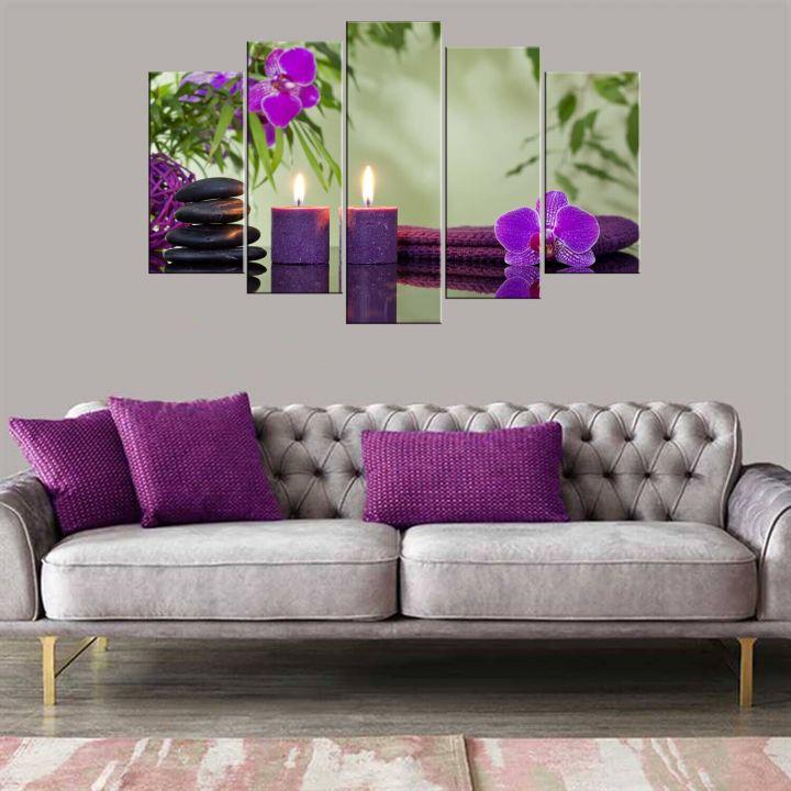 Фиолетовая свеча 5 шт. Стол из МДФ