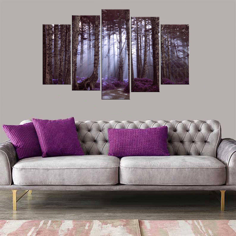 Фиолетовый цветочный лес 5 шт Mdf Painting