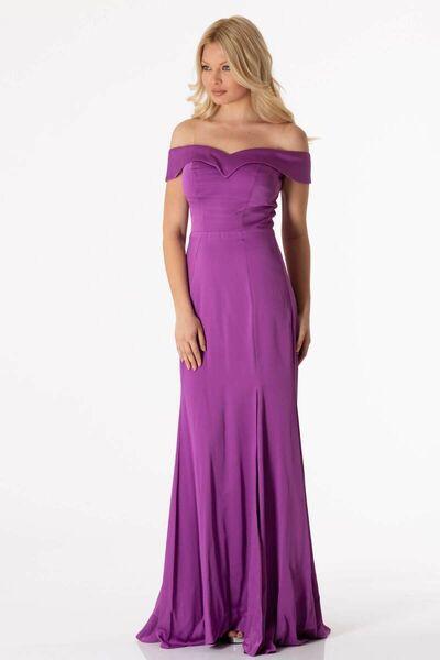 shecca - فستان سهرة ذو ذيل طويل بنفسجي اللون (1)