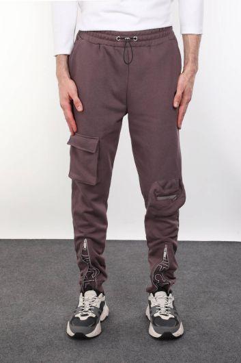 Мужские брюки с застежкой-молнией и карманом - Thumbnail