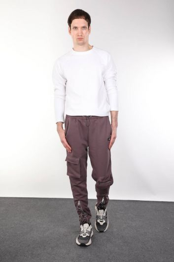 Zipper Detailed Men's Trousers With Pocket - Thumbnail