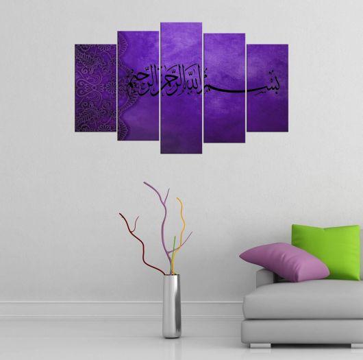 Фиолетовый Коран письменный стол из 5 частей Mdf - Thumbnail