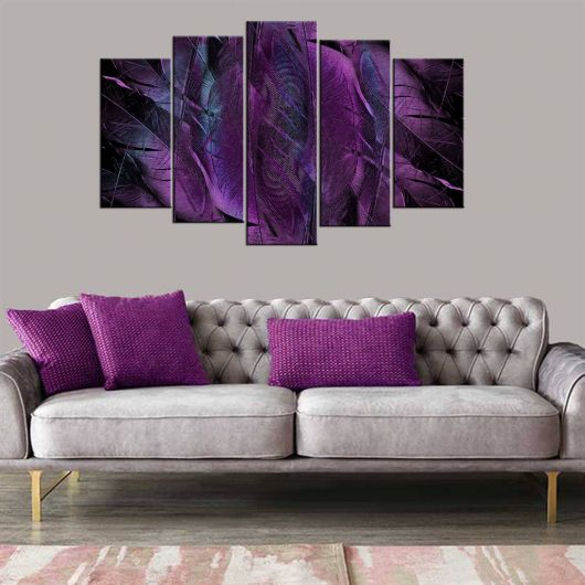 Purple Themed 5 Piece Mdf Painting - Thumbnail