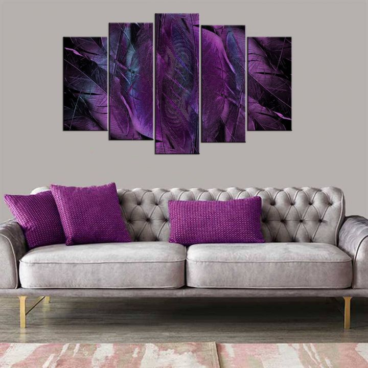 Purple Themed 5 Piece Mdf Painting