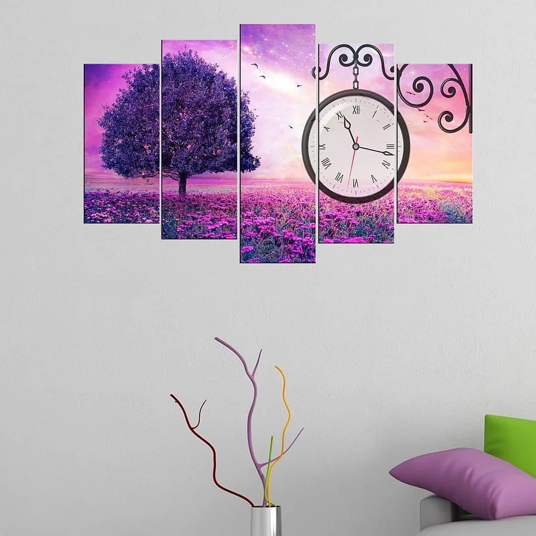 Фиолетовый деревянныйстол с 5-ю элементами из МДФ