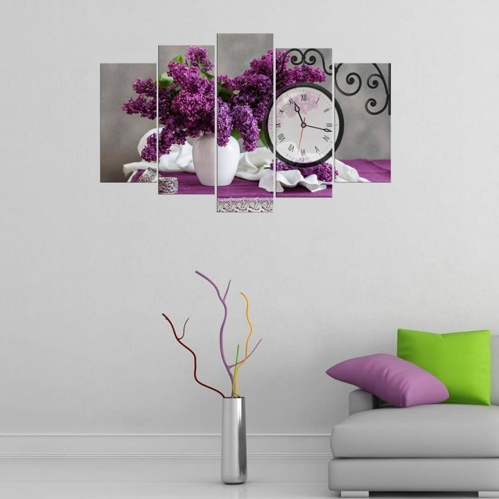 Purple Violet 5 Piece Mdf Clock Table