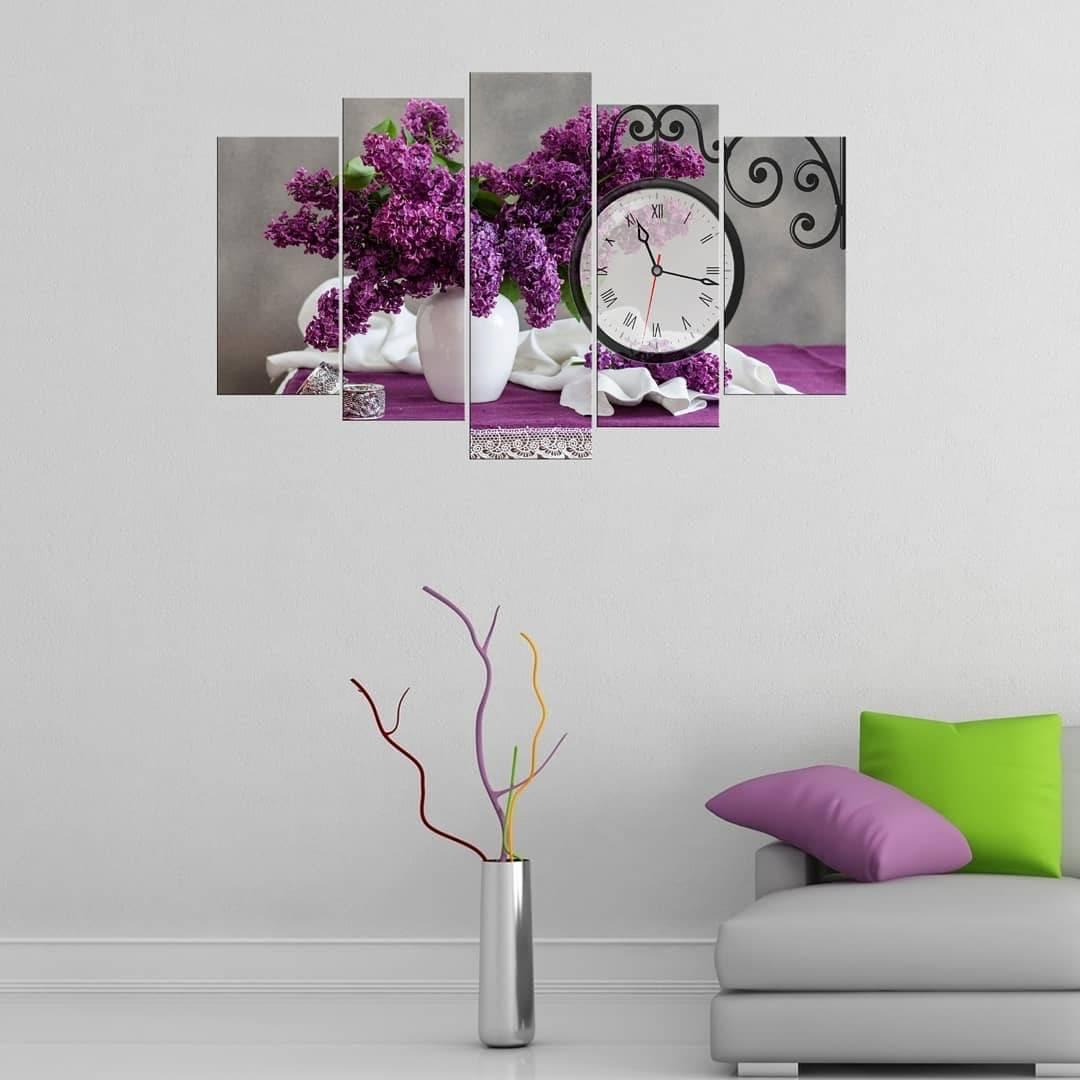 Фиолетовый Фиолетовый5-компонентный стол с часами из МДФ