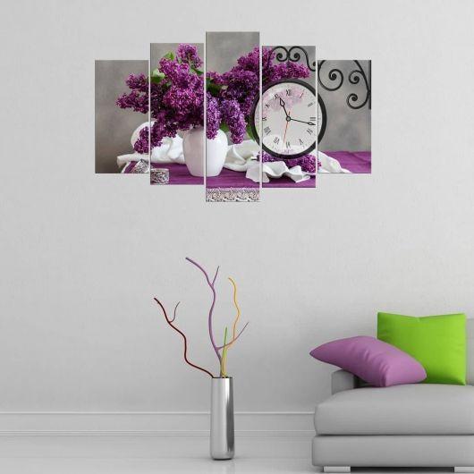 Фиолетовый Фиолетовый5-компонентный стол с часами из МДФ - Thumbnail