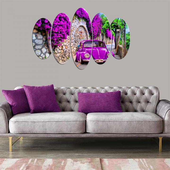 Purple Vosvos 5 Piece Mdf Oval Table