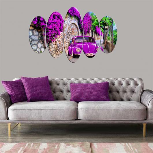 Фиолетовый Vosvos 5 шт. Овальный стол из МДФ - Thumbnail