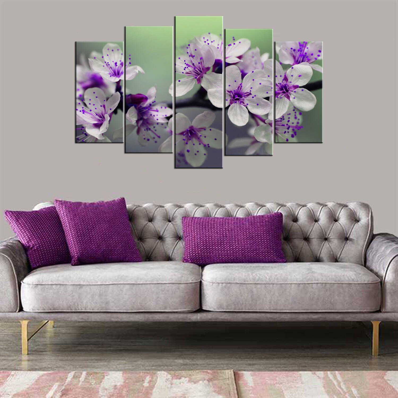 Фиолетовый белый цветок 5 шт Mdf Painting