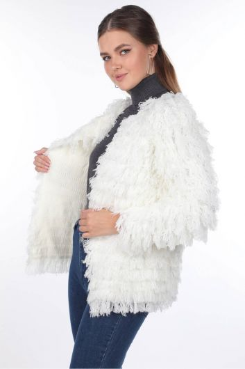 MARKAPIA WOMAN - Ecru Fringed Women Knitwear Cardigan (1)