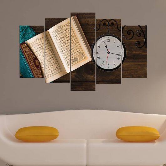 Quran 5 Pieces Mdf Clock Table - Thumbnail