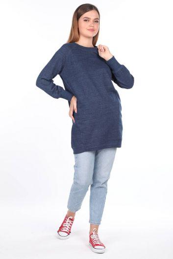 MARKAPIA WOMAN - Синяя длинная женская толстовка с рукавами реглан (1)