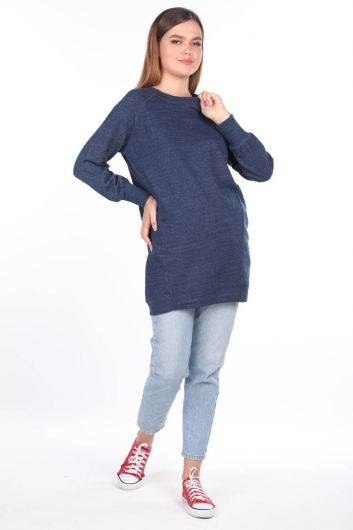 MARKAPIA WOMAN - Blue Raglan Sleeve Long Women Sweatshirt (1)