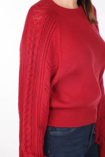 Raglan Sleeve Thick Crew Neck Knitwear Sweater - Thumbnail