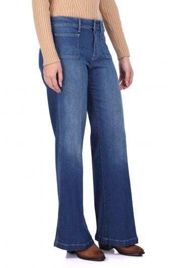 MARKAPIA WOMAN - Rahat Kesim Geniş Paça Kadın Jean Pantolon (1)