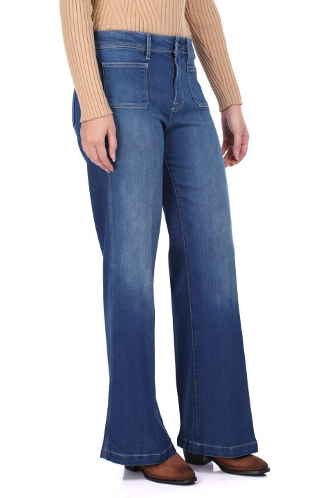 Rahat Kesim Geniş Paça Kadın Jean Pantolon