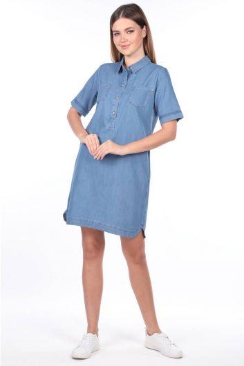 Kadın Gömlek Yaka Jean Elbise - Thumbnail