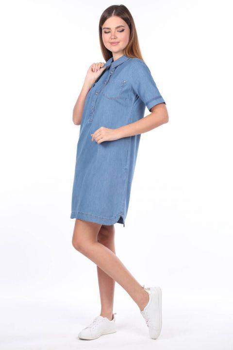 Kadın Gömlek Yaka Jean Elbise