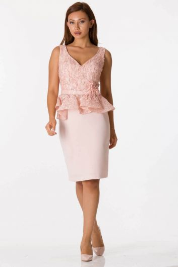 Shecca By Dayi - Thick Strap V Neck Pink Suit Evening Dress (1)