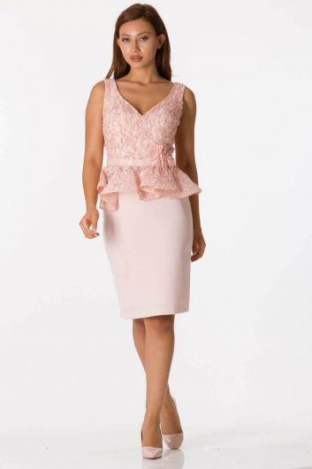 shecca - Розовый костюм вечернее платье с толстыми бретелями и v-образным вырезом (1)
