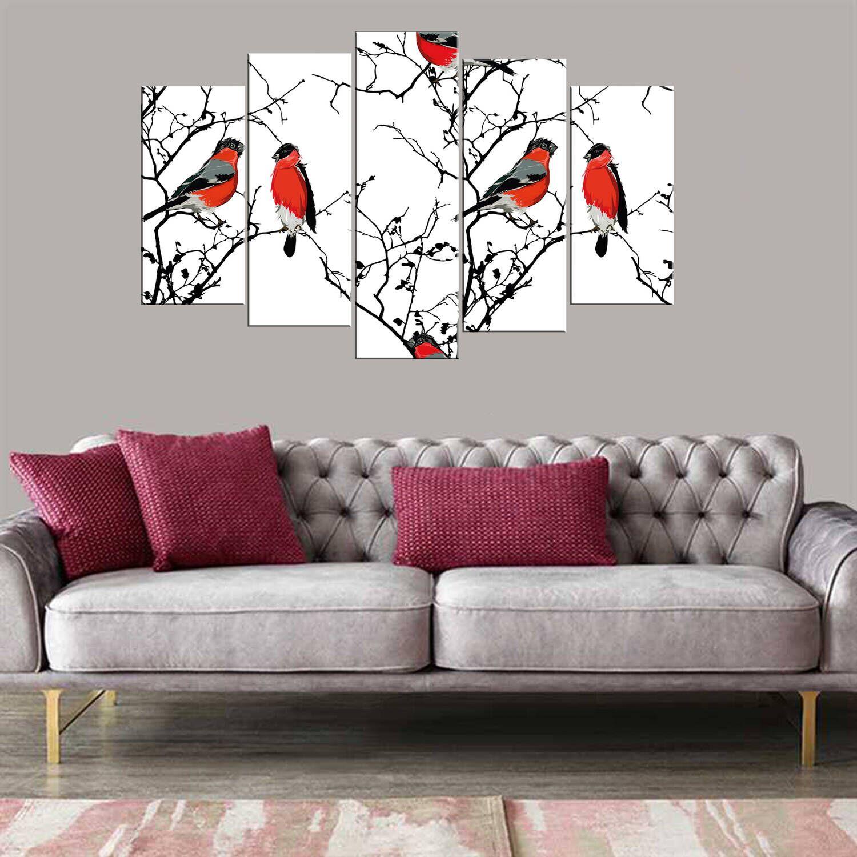 Тематическая картина с красными птицами из 5 частей Mdf
