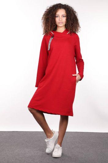 Red Hooded Zipper Detail Long Sweat Dress - Thumbnail