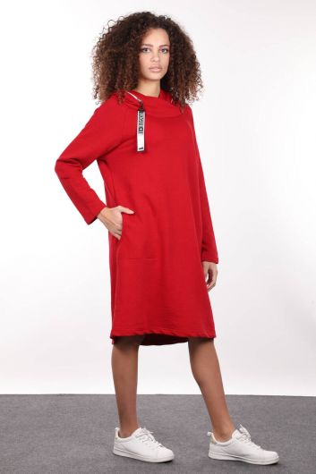 MARKAPIA WOMAN - Red Hooded Zipper Detail Long Sweat Dress (1)