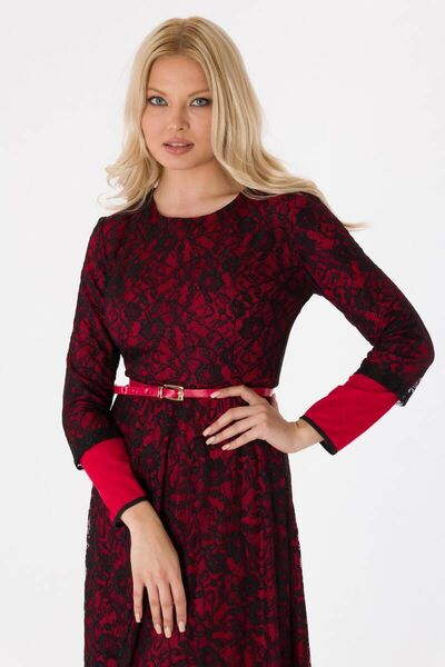shecca - فستان سهرة دانتيل كم طويل أحمر (1)