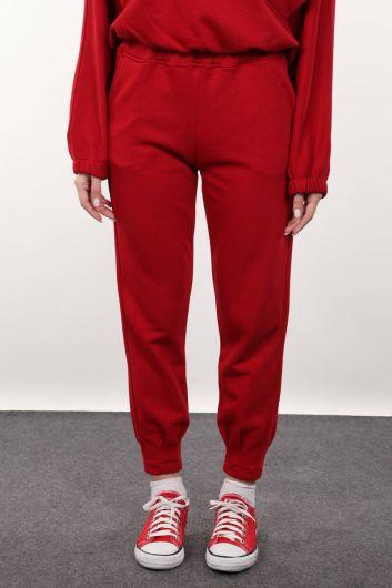 Женские красные брюки с пинцетом - Thumbnail
