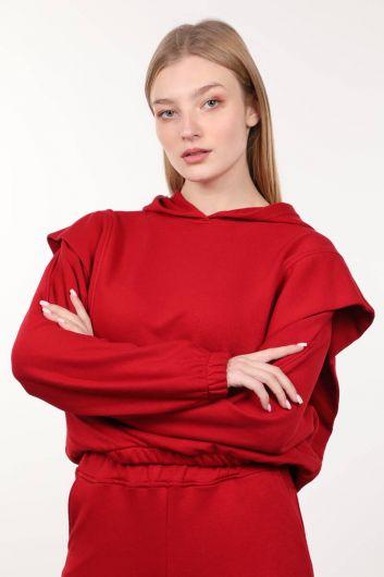 قميص من النوع الثقيل مبطن باللون الأحمر للنساء - Thumbnail