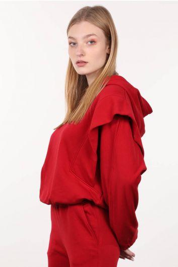 MARKAPIA WOMAN - قميص من النوع الثقيل مبطن باللون الأحمر للنساء (1)