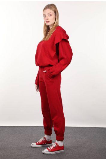 MARKAPIA WOMAN - طقم بدلة رياضية بقلنسوة محشو باللون الأحمر (1)