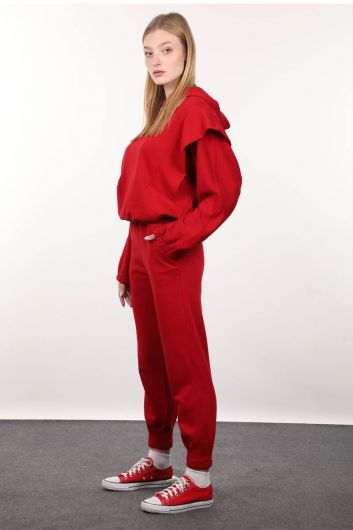 MARKAPIA WOMAN - Красный спортивный костюм ватный с капюшоном (1)