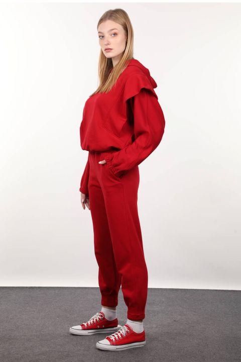 Красный спортивный костюм ватный с капюшоном