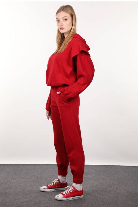 Red Wadded Hooded Tracksuit Set