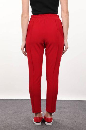 Красные брюки с завязками на талии - Thumbnail