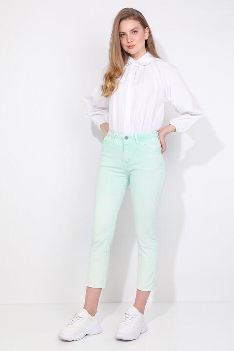 Regular Fit Water Green Women Jean Trousers