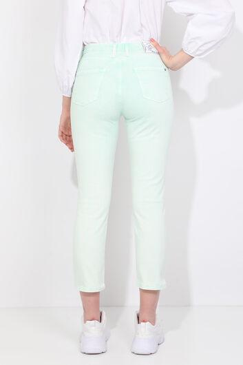 Зеленые женские джинсовые брюки стандартного кроя - Thumbnail