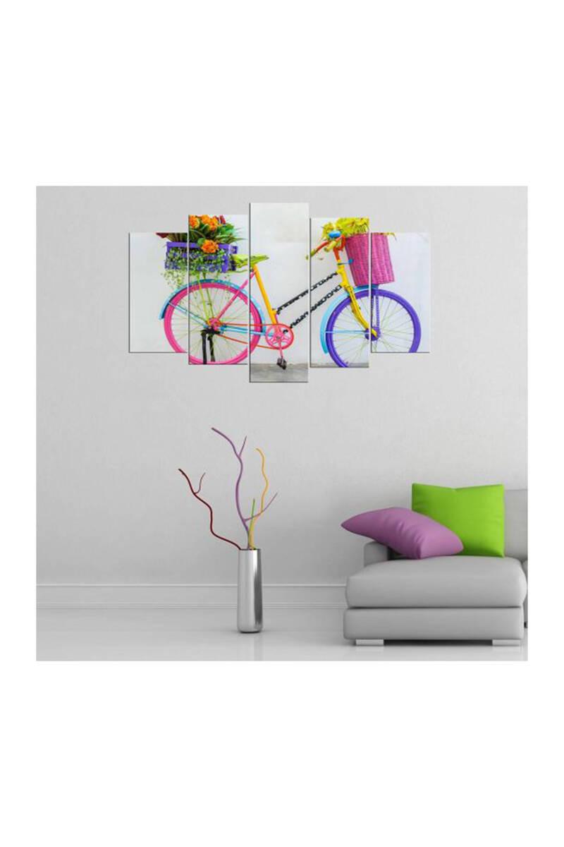 Rengarenk Bisiklet Temalı 5 Parçalı Mdf Tablo