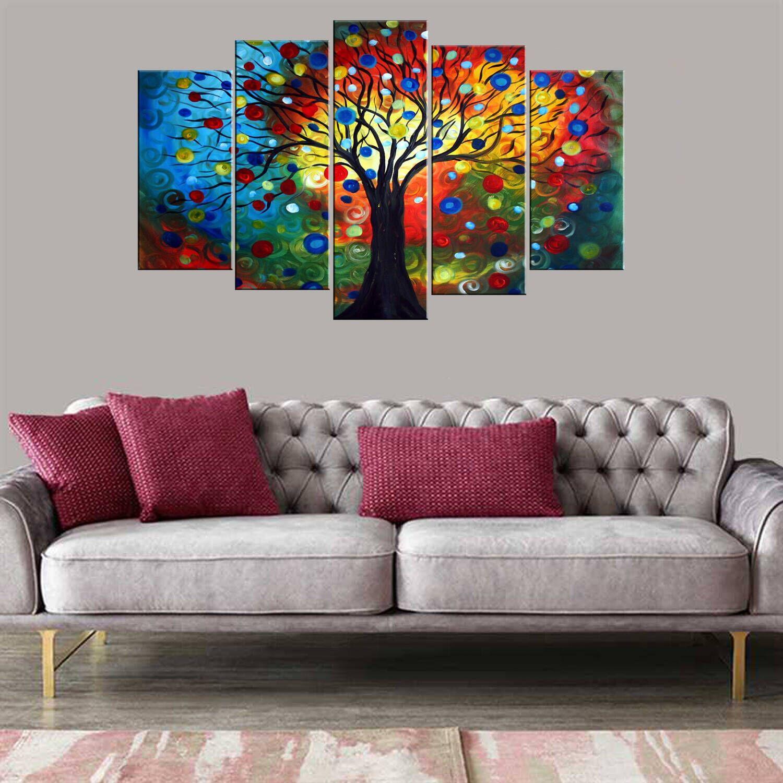 Renkli Ağaç 5 Parçalı Mdf Tablo