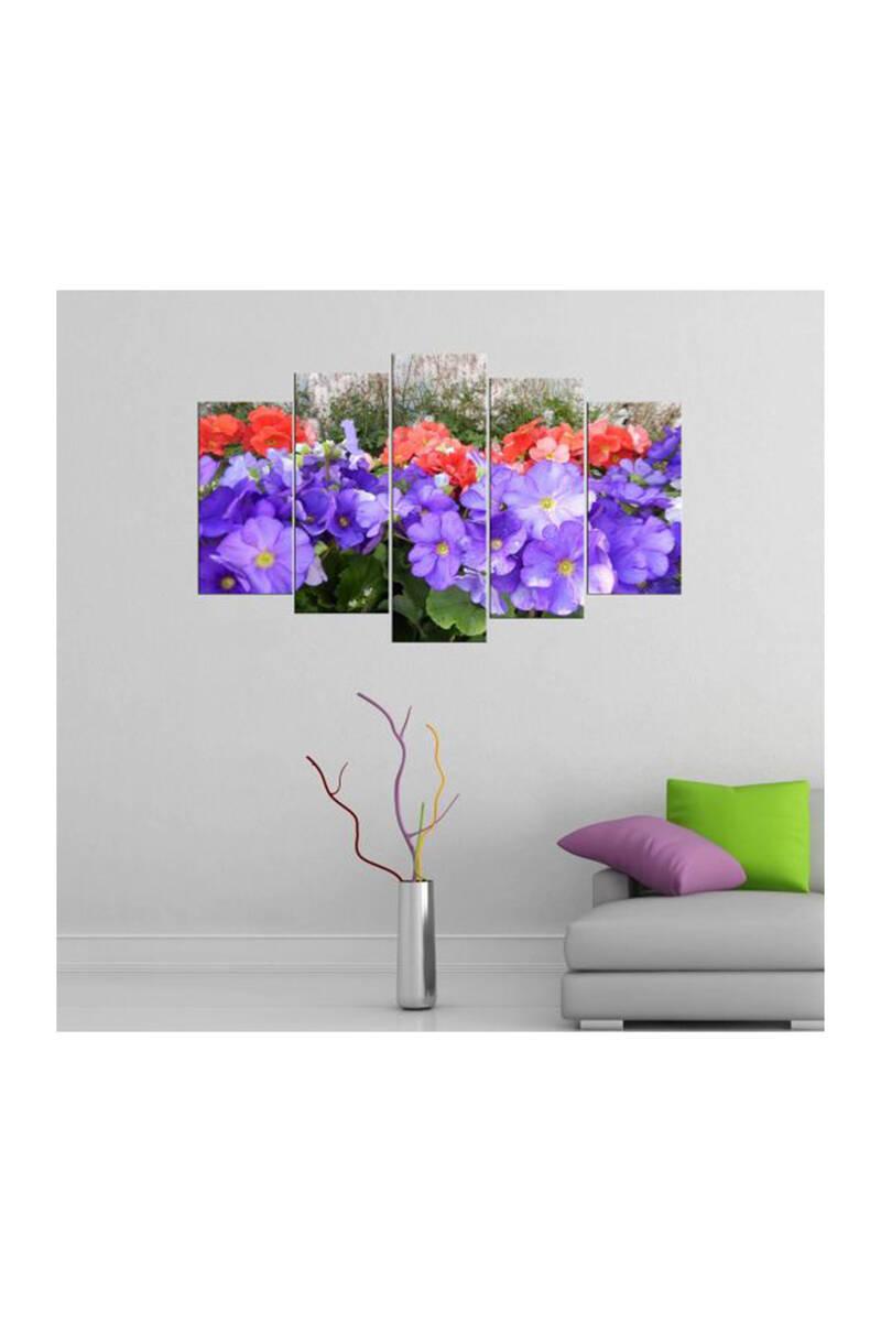 Renkli Çiçek Temalı 5 Parçalı Mdf Tablo