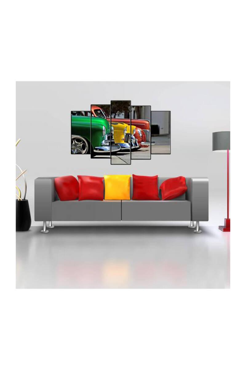Renkli Klasik Arabalar 5 Parçalı Mdf Tablo
