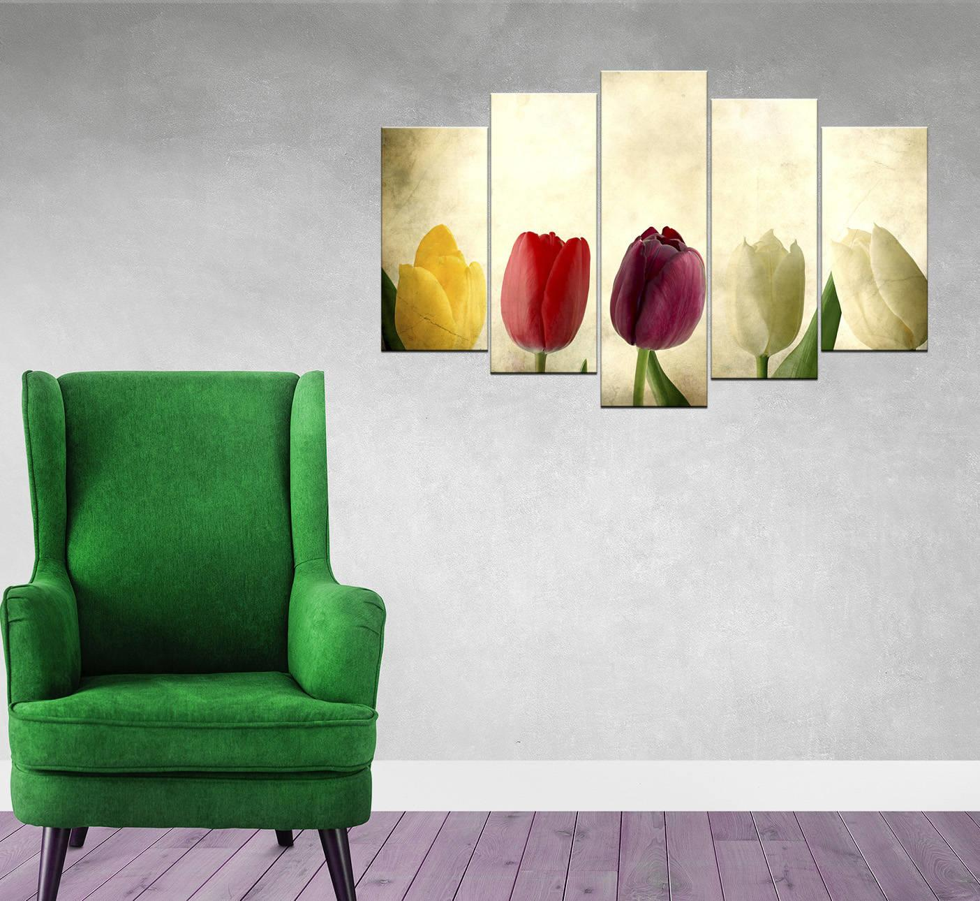 Renkli Lale 5 Parçalı Mdf Tablo-3602