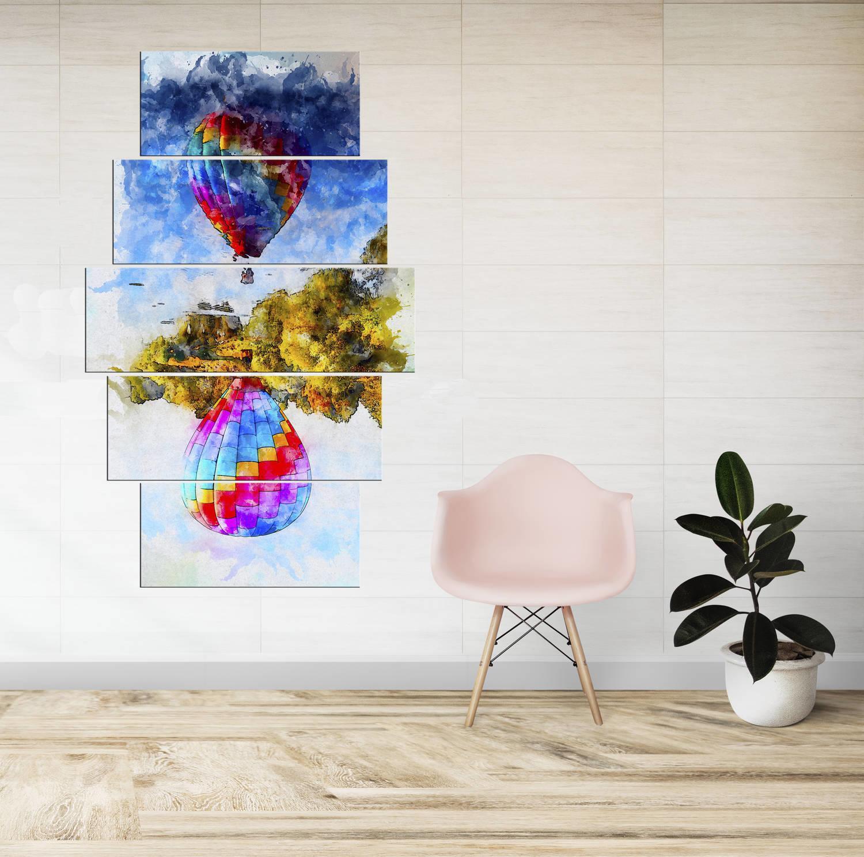 Renkli Yansımalı Balon Temalı 5 Parçalı Mdf Tablo